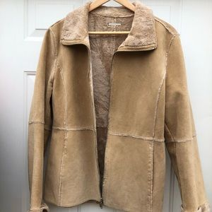 Guess 100% Leather faux-fur lined jacket